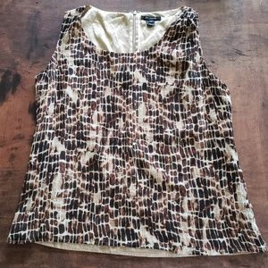 st john animal print brown silk sleeveless blouse